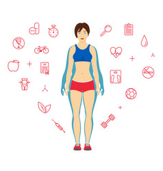 woman body transformation concept girl before and vector image