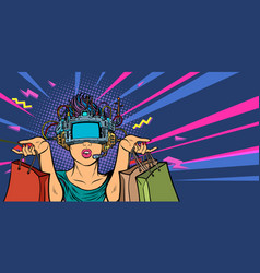 woman shopping on sale virtual reality vr glasses vector image
