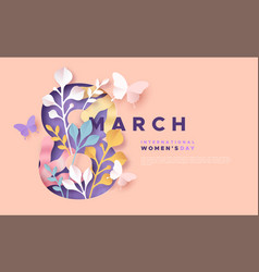 Womens day 8 march pink papercut spring card vector