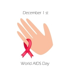 World AIDS Day Red ribbon on his arm vector image