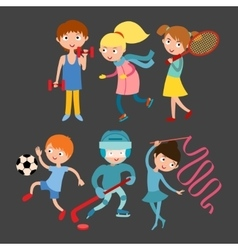 Young kids sportsmens isolated on white vector