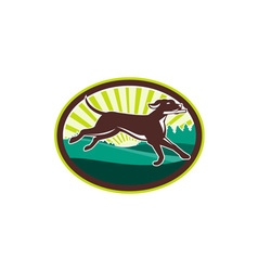 English Pointer Dog Fetching Stick Oval Retro vector image vector image