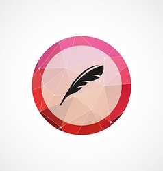 feather circle pink triangle background icon vector image