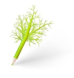 Green tree pencil EPS 10 vector image
