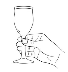 hand holding a wine glass on white background vector image vector image