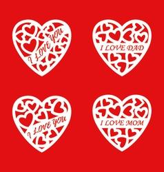 letter words white heart vector image vector image