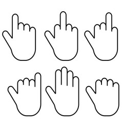 set gestures of the fingers of the hand palm set vector image vector image