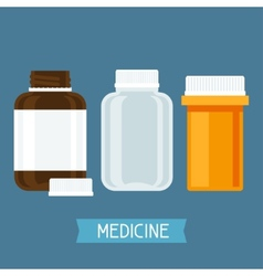 Set of three medical bottles with pills vector image vector image