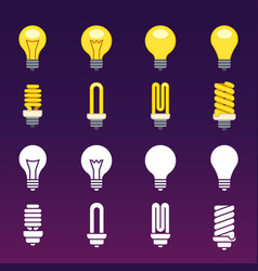 white silhouettes and colorful light bulbs icons vector image vector image