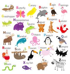 zoo animal alphabet cute cartoon character set vector image vector image