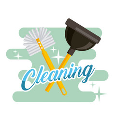 cleaning toilet brush and plunger supplies vector image
