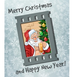 Frame of selfie of Santa Claus with beer vector image vector image