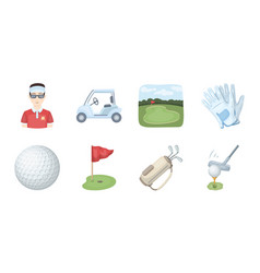 golf and attributes icons in set collection for vector image vector image