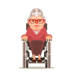 happy smiling old woman character sitting wheel vector image