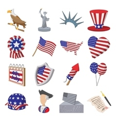 Independence day cartoon icons vector image