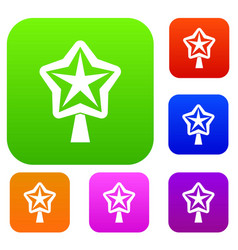 star for christmass tree set collection vector image