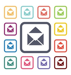 mail flat icons set vector image vector image