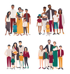 set of large family portrait different vector image vector image