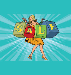 blond woman with shopping bags sale vector image