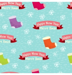Christmas and New Year seamless background with vector image