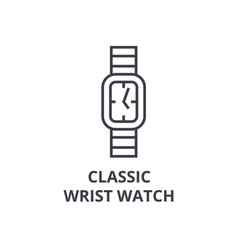 classic wrist watch line icon outline sign vector image vector image