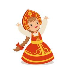 cute girl wearing red sarafan and kokoshnik vector image vector image
