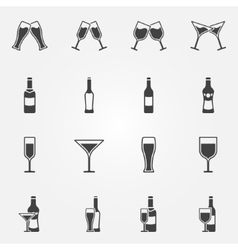 Drink alcohol icons vector image vector image