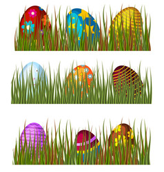 easter eggs in green grass spring colorful vector image vector image