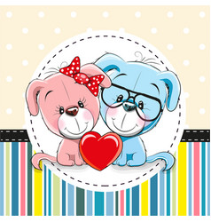 two cute cartoon dogs vector image vector image