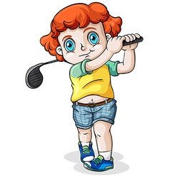 A Caucasian boy playing golf vector image