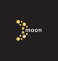 abstract moon icon orange circles on black vector image
