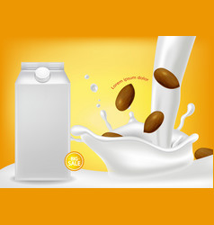 almond milk realistic product placement vector image