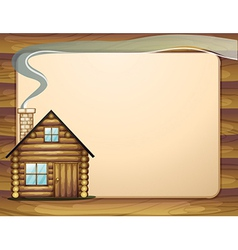 An empty wooden template with a wooden house vector image