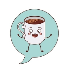 Animated cup coffee inside dialog vector