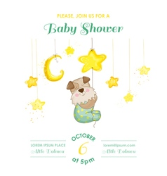 Baby shower card - dog catching stars vector