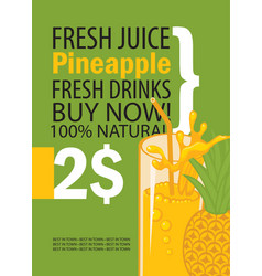 banner with pineapple and a glass juice vector image