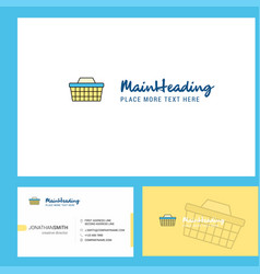 basket logo design with tagline front and back vector image