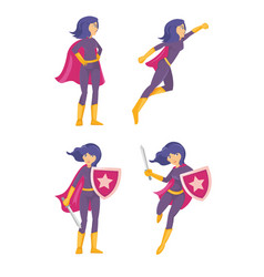 beautiful superhero woman with shield in hand vector image