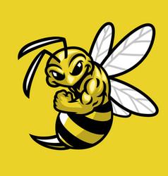 bee muscle sport mascot vector image