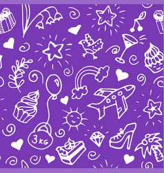 birthday seamless handdrawn pattern doodle vector image