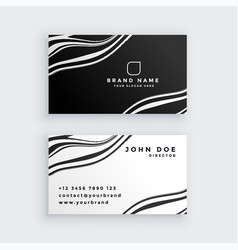 black and white marble business card design vector image
