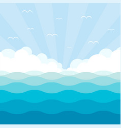 blue wave landscape with sky vector image