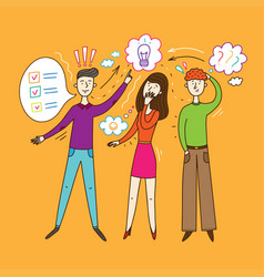 brainstorming in a creative group people vector image