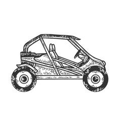 Buggy sport car sketch engraving vector
