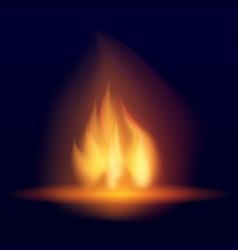 Burning bonfire hot flickering flame vector