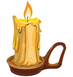 Burning wax candle in a stand vector