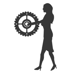 Business woman holding gear icon vector