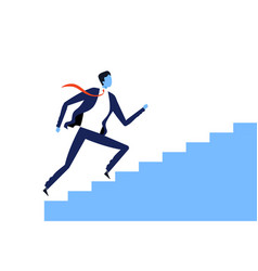 Businessmen running up stairs to success vector