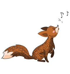 cartoon fox sings stylized fox vector image