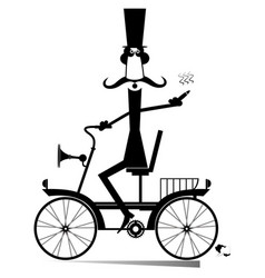 Cartoon man rides a vintage bike isolated vector